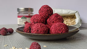 Vegan Date Balls With Frozen Raspberries