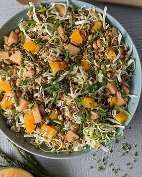 Lentil Salad With Melon, Orange, Peanuts