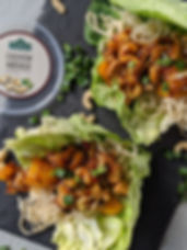 Asian Chicken Cashew Wraps With Green Ca