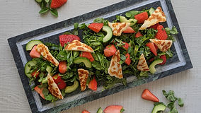 Pea Shoots Salad With Halloumi & Strawbe