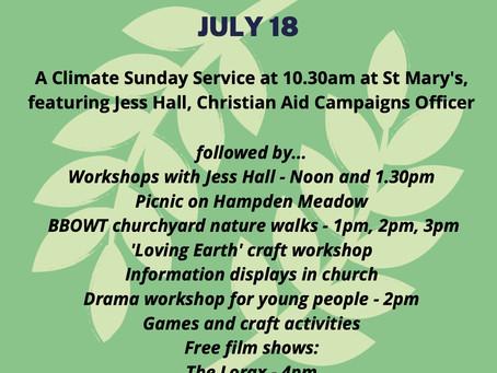 Climate Sunday 18th July 2021