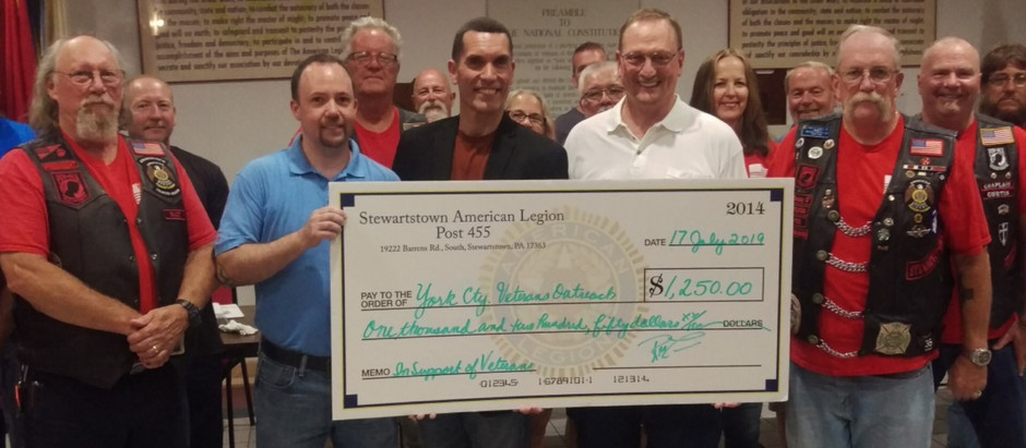 American Legion Riders from Stewartstown Post 455 Make Donation