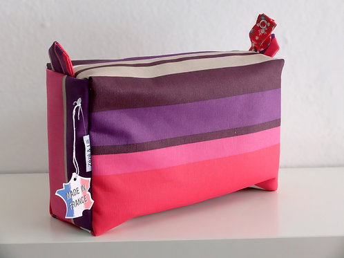 Trousse de toilette rayures mauve - Made in France