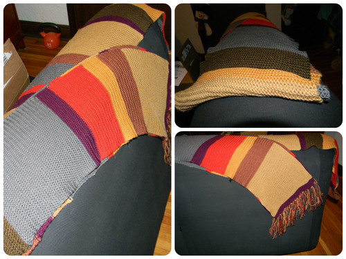 Composite photo of the finished scarf from three angles