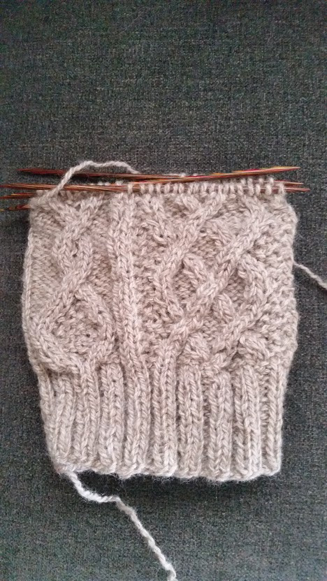 Irish Moss Toque--WIP. Just after starting crown decreases.