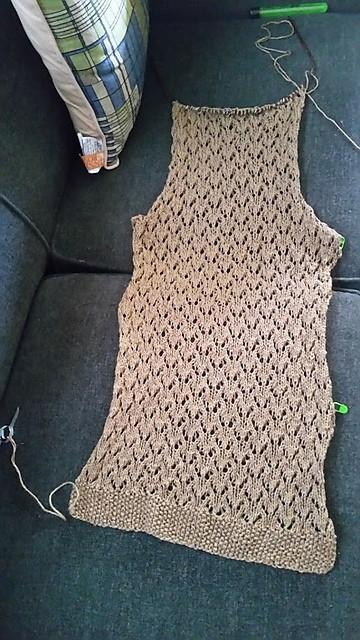 The almost finished back of this sweater