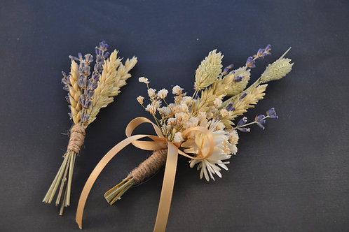 His & Hers Vintage Dried Flower Buttonholes