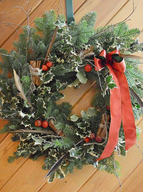 Christmas Door Wreath - Pheasant Feathers