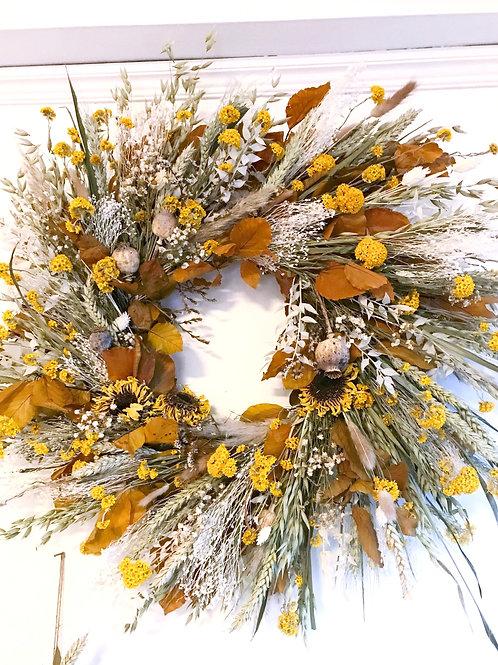 Ochre Dried Flower Wreath