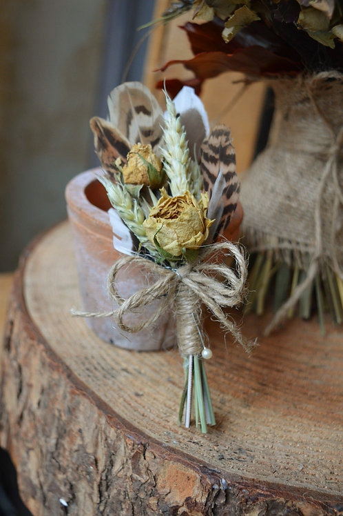 Rose and Feather Buttonhole
