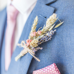 Pastel Dried Flower Groom Button Hole