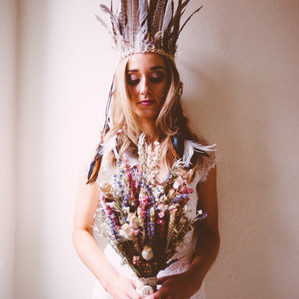 Bridal Feather Head Dress with Bouquet