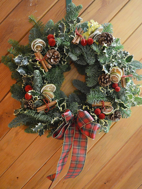 Christmas Door Wreath - Tartan Ribbon