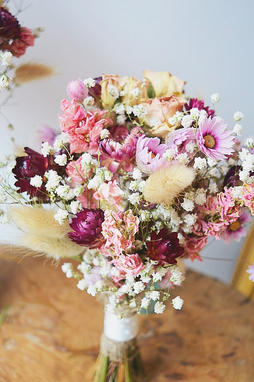Pinks and Gypsophila posy