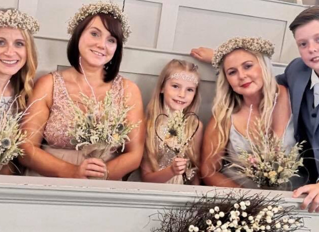 Summery Bridesmaids with gypsophila flow