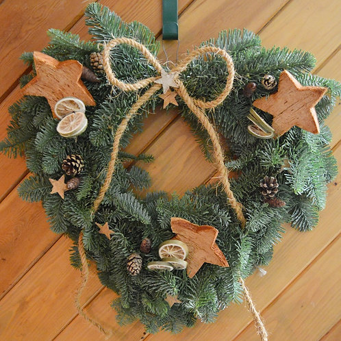 Christmas Door Wreath - Natural Heart