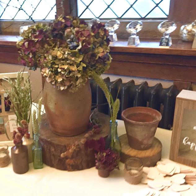 Dried Hydranger in Terracotta Wedding Centrepiece