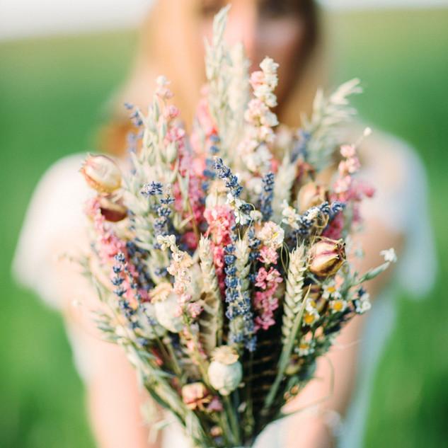 Pastel Dried Flower Bridal Bouquet
