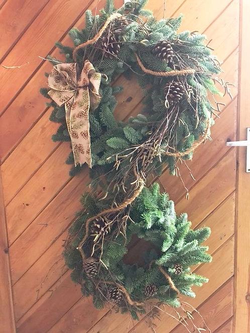 Rustic Double Christmas Door Wreath