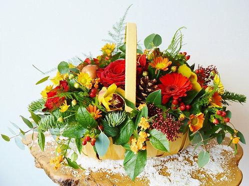 Vintage Christmas Floral Basket