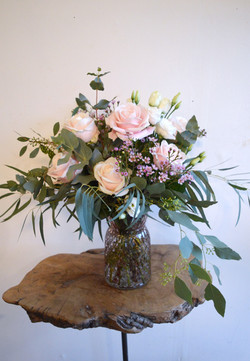 Rose and Eucalyptus Vase
