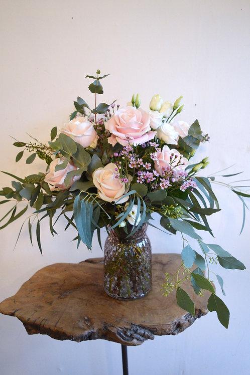 Blush Rose & Eucalyptus Vase