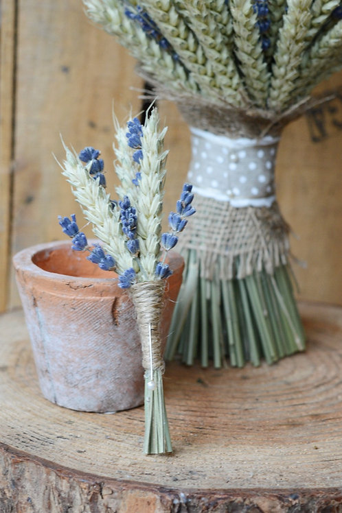 Wheat and Lavender Buttonhole
