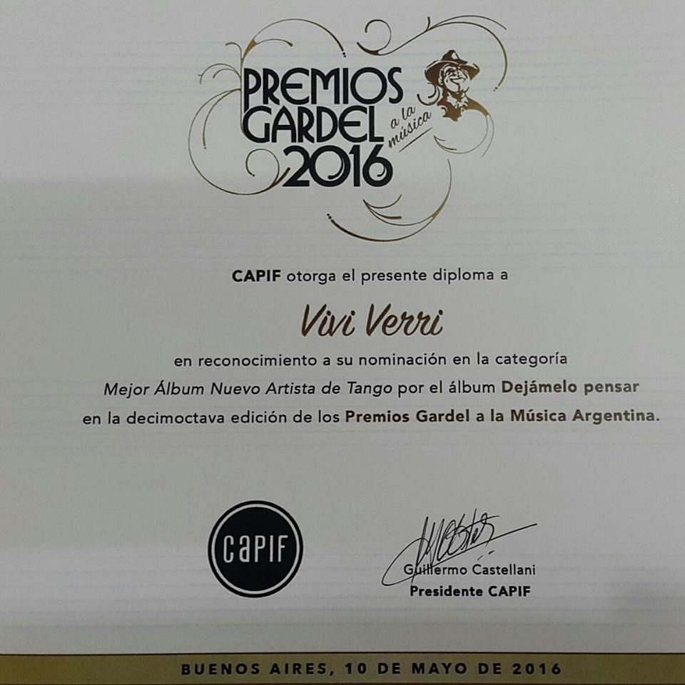 Diploma Nominacion Premio Gardel