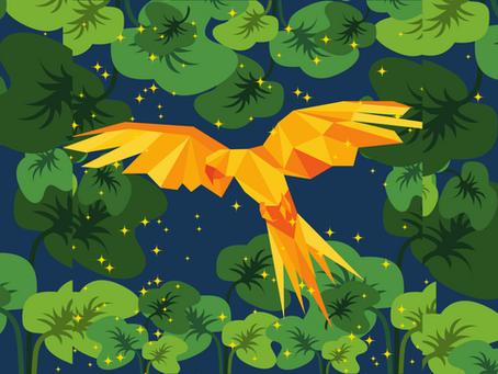 Попугай с золотыми перьями