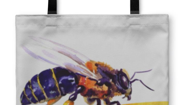 Tote Bag, Honey Bee Isolated on White
