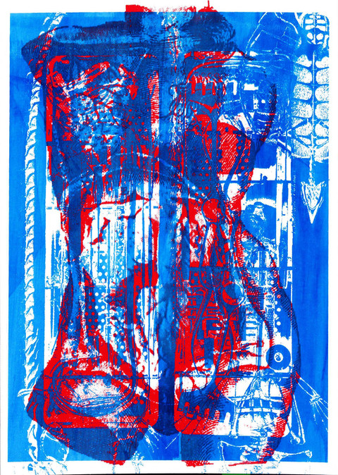 hybrid anatomy screen printing on paper 15 x 21cm 2019