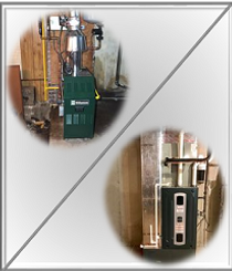 Gas fired hot air furnace and boiler installation