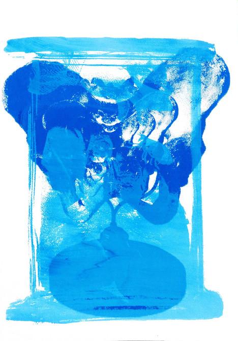 hybrid anatomy screen printing on paper 15 x 21cm 2019