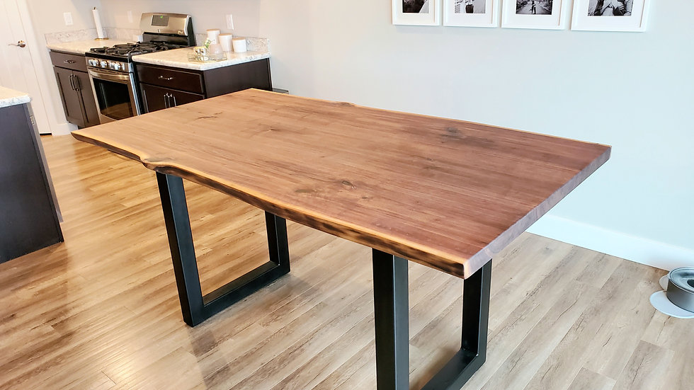 *Made to order* Walnut and steel live edge table