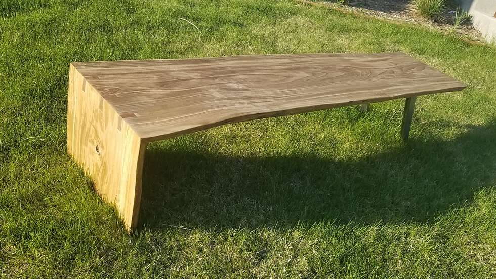 Made to order live edge waterfall wood and steel bench