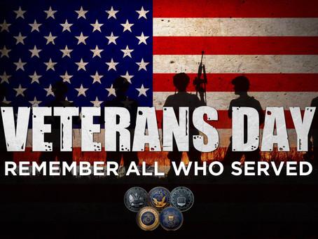 Veteran's Day School Closed November 12th