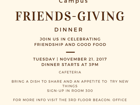 BEACON: Metro's First Friendsgiving Dinner November 21s