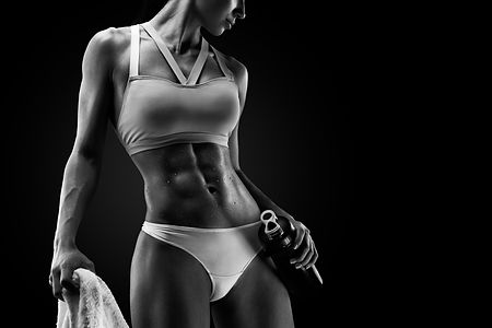 Black and white Image of fitness woman i