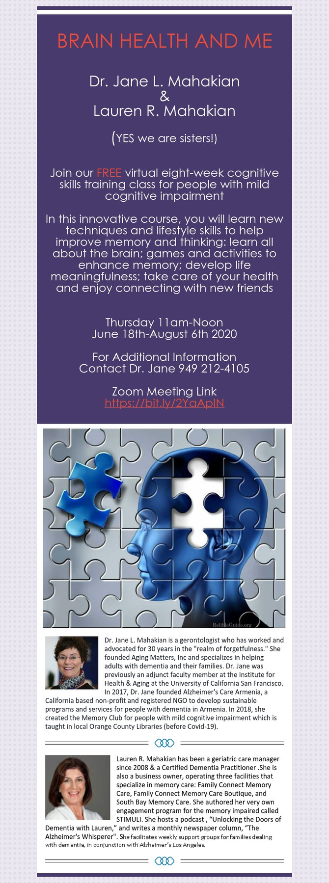 Mild Cognitive Impairment?  Join our Brain Health and Me Class!
