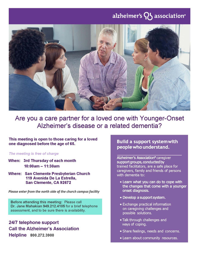 Monthly Seminar for Caregivers of Early Onset Alzheimer's
