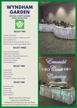 Special Event Dinner Menu