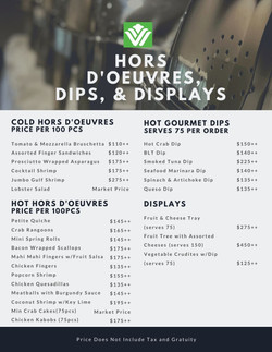 Hors D'oeuvres Dips and Displays