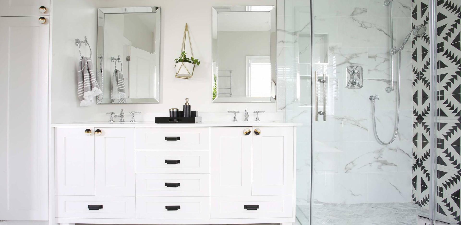 Custom built vanity & stylish shower tiles