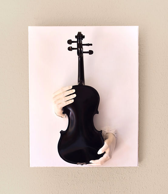 MADINE VIOLON MAIN OEUVRE ART TABLEAUX BACK BACH ARTWORKS HAND VIOLIN