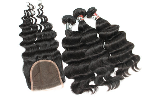 3 BUNDLES +  4x4 -5x5  CLOSURE DEAL
