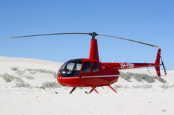 Helicopter on a remote beach WA 2016