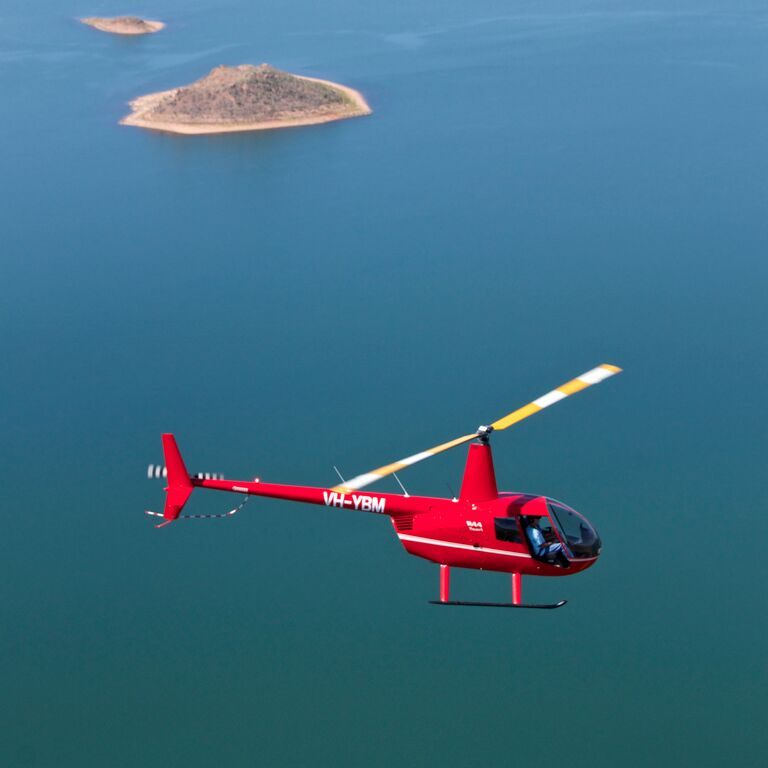 Helicopter over Lake Argyle WA 2015