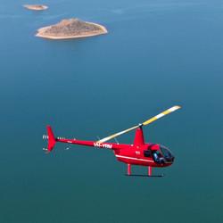 Helicopter over Lake Argyle WA 2015