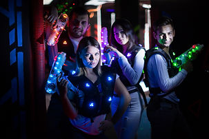 Canva - Young people with laser guns on