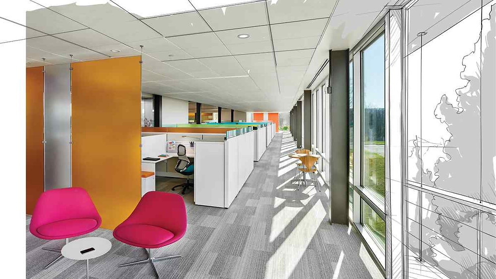 An Office Open Plan Space with Rhythm and Emphasis
